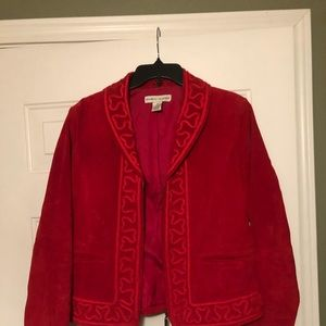 Red Embroidered Suede Jacket by Bamboo. M